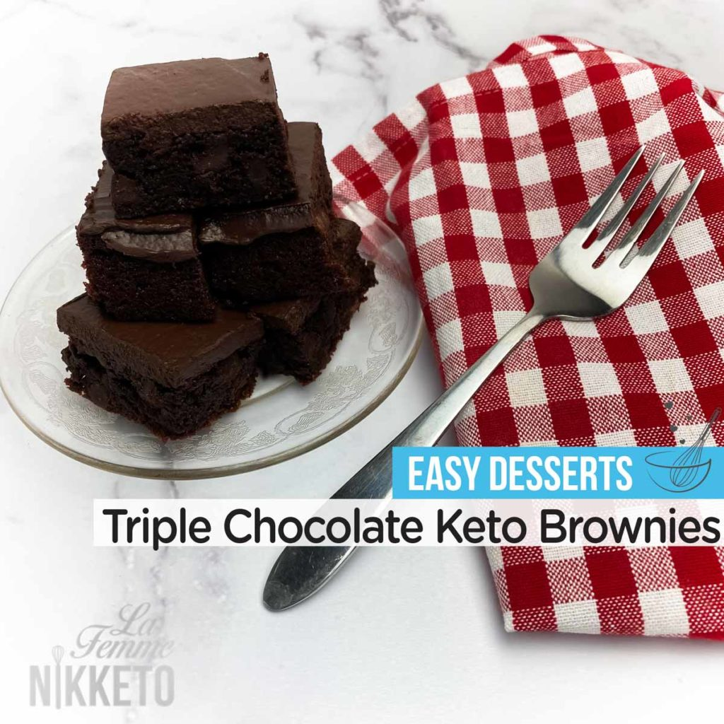 Keto Triple Chocolate Coconut Flour Brownies with Frosting